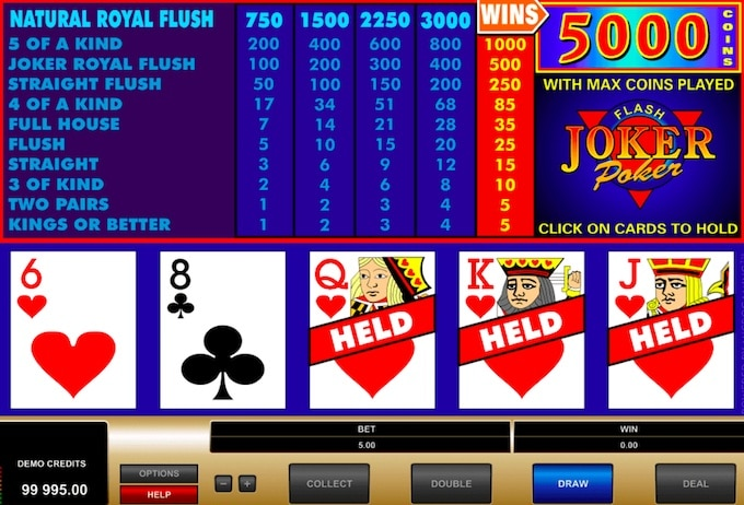 Wideo poker, maszyna ze slotem, karty, król, dama, walet